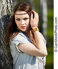beautiful hippie girl - outdoor portrait of beautiful hippie...