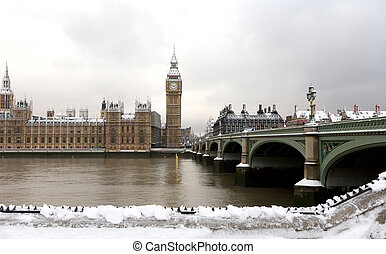 Snow Covered Westminster seen from South Bank