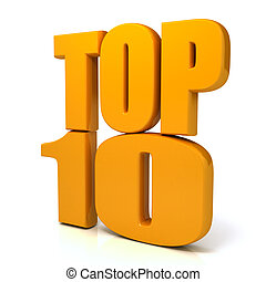 Top 10 words over white background com