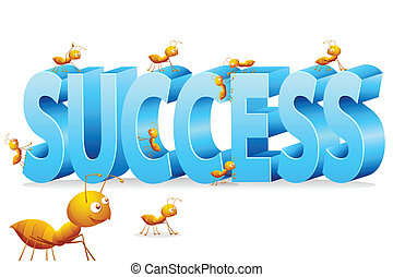 Ant Climbing on Success - illustration of ants climbing on...