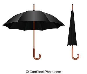 Black umbrella - Realistic illustration of the black...