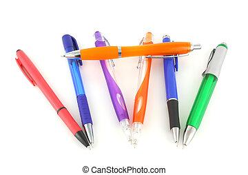 色, 上に, ペン, 白