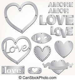 Plate LOVE silver heart vector illustration