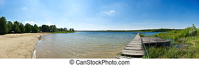 Panorama with pier and lake