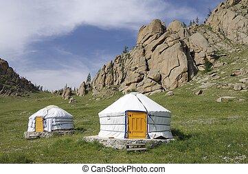 Mongolian gers in Gorkhi-Terelji National Park, Mongolia