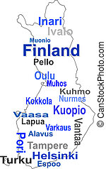 finland map and words cloud with larger cities