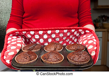 muffins - freshly baked chocolate muffins