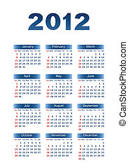 Calendar for 2012 Dark blue letters and figures on a white...