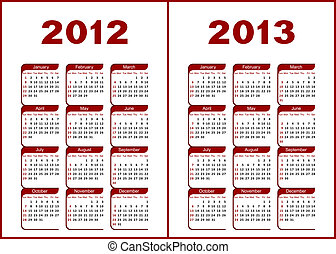 Calendar 2012,2013. - Calendar for 2012,2013.Red letters and...
