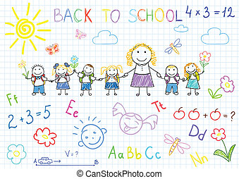 Back to school. Vector sketches with happy pupils and...