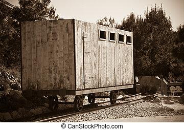old wooden railway  wagon