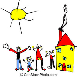 Child drawing of family, sun and house - Child hand drawn...