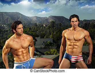 Sexy male fit twins - Portrait of sexy male fitness model...