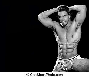 Male bodybuilder - Black and white fine art portrait of a...