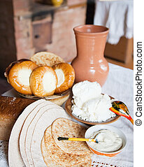 country home-made meal in rural house interior