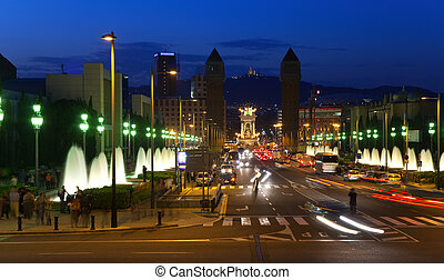 Barcelona in night - View of Barcelona in night Spain