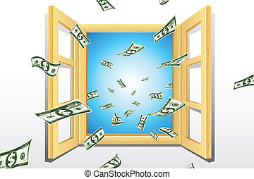 Dollar coming from Window - illustration of dollar coming...