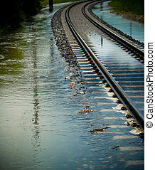 Rail track leads into high water - A Rail track leads into...