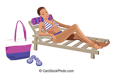 On The Beach - Illustration of a woman chilling out on the...
