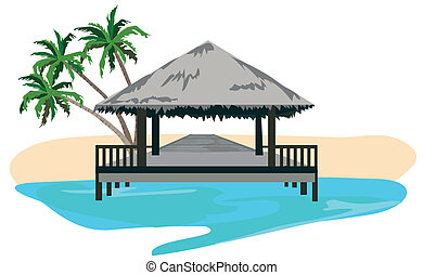 The Tropics - Maldives island resort illustration isolated...