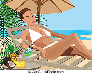 Vacation in the Tropics - Illustration of a woman chilling...