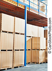 warehouse cardboard boxes arrangement indoors - warehouse...