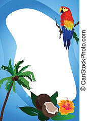 Tropical Frame - Background illustration with an exotic bird...