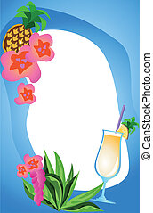 Tropical Frame - Background illustration with exotic drinks...