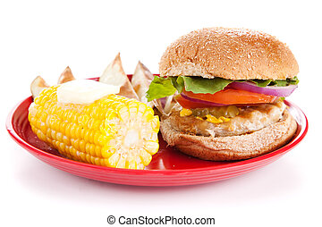 Turkey Burger on White Background - Healthy turkey burger,...