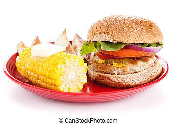 pavo, hamburguesa, blanco, Plano de fondo