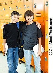 School Boys - Best Friends - Two teen boys at school. They...