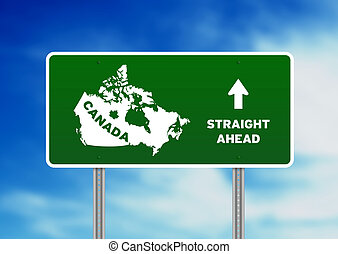Canada Highway Sign - High resolution graphic of a green...