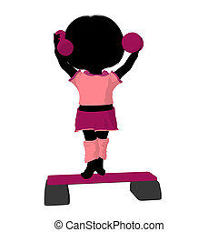 Little Exercise Girl Illustration Silhouette - Little...