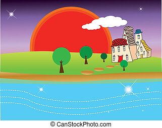 Quiet village under sunset