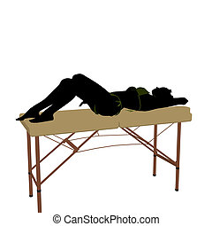 Massage Table Illustration Silhouette - African american...