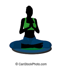 Female Yoga Illustration Silhouette - Female yoga art...