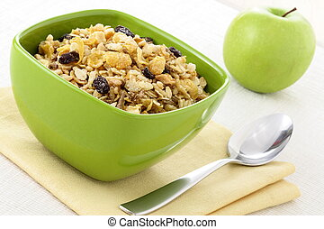 healthy muesli breakfast - delicious and healthy wholegrain...
