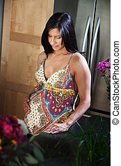 Expectant Mother - Beautiful young woman holds her pregnant...