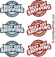 Next Day Shipping - A selection of next day shipment stamps...