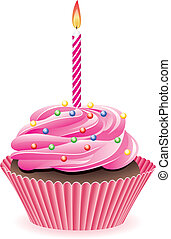 cupcake with burning candle - vector cupcake with sprinkles...