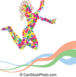 flower silhouette of dancing girl - silhouette of dancing...