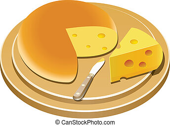 cheese and knife - vector cheese and knife on a wooden plate...