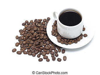 Coffee - A cup of coffee with beans