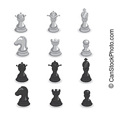 illustration of set of white and black chess