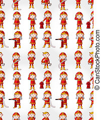 cartoon Fireman seamless pattern