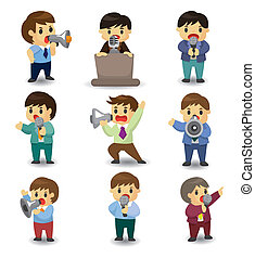 set of funny cartoon office worker talk with Microphone and speaker