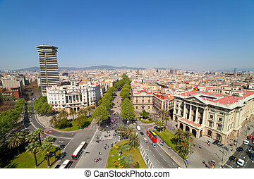 Wide angle shot of Barcelona from Columbus statue Spain