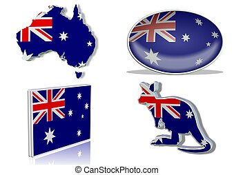 Australian flag in 4 different designs, in the shape of the...