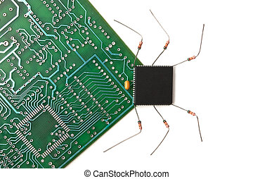 virus attack - computer virus on a printed circuit board...