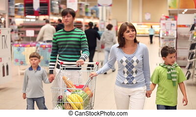 Family at supermarket